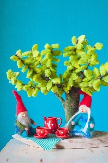 Knutsel een wollige lenteboom
