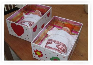 tutorial poppenbedje maken van doos